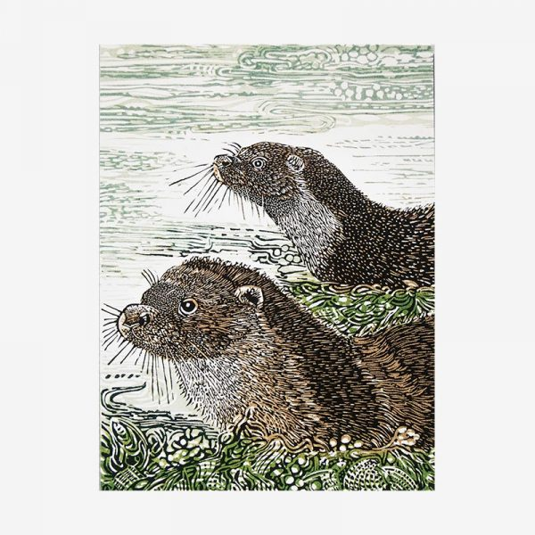 Otter mother and cub