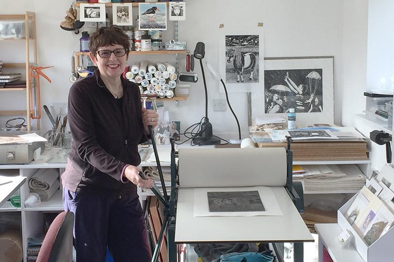 Linda in her studio