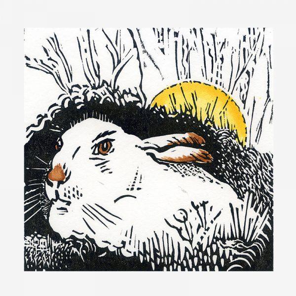 Mountain Hare in Winter - linocut