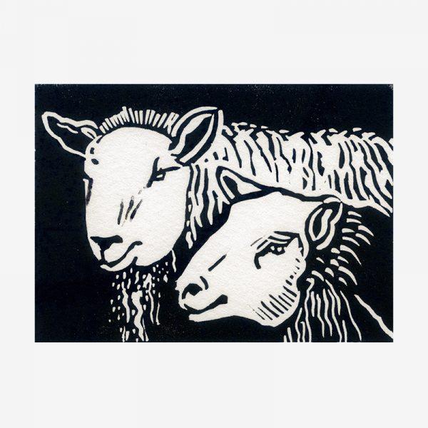 Shetland Ewes - linocut