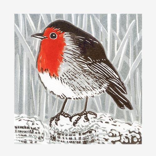 Winter Robin - linocut